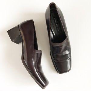 Sesto Meucci Square Toe Leather Block Heel 7.5 M
